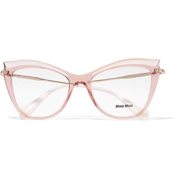 Miu Miu Cat-eye acetate optical glasses ( 325) ❤ liked on Polyvore  featuring accessories, eyewear, eyeglasses, cateye eyeg…   Through the  looking glass in ... c0684bdef147