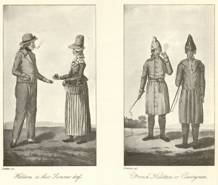 John Lambert: 'Inhabitants in their Summer dress' (on left); 'French Inhabitants or Countrymen' (on right);  ('Travels through Canada', Londres, 1816).