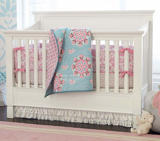 Check Out The Wall Behind Crib Girls Room Could Be White Walls With Blue Stencil Brooklyn Nursery Bedding Set Brooklyn Nursery Bedding From Pottery Barn
