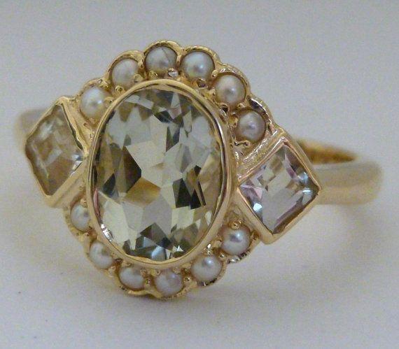 Vintage Amethyst Ring 10k Antique Pearl Ring by GTJewellers