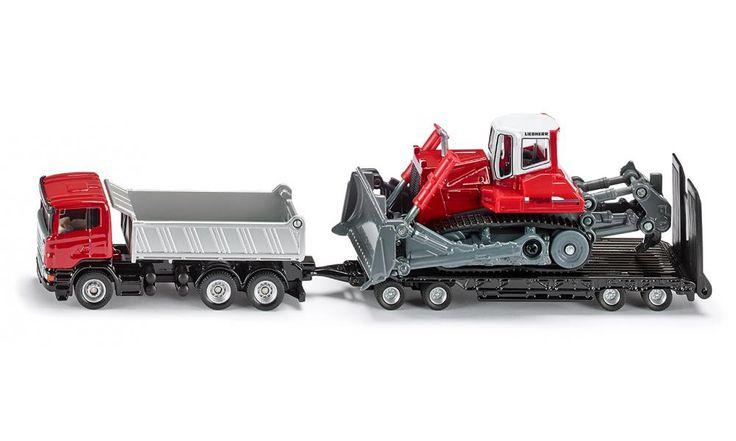LKW mit Anhänger und Planierraupe - Transport / Beladung - SIKU SUPER