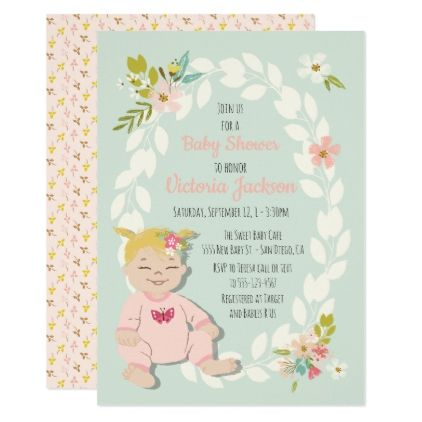 Sweet floral blonde baby shower invitations - floral style flower flowers stylish diy personalize