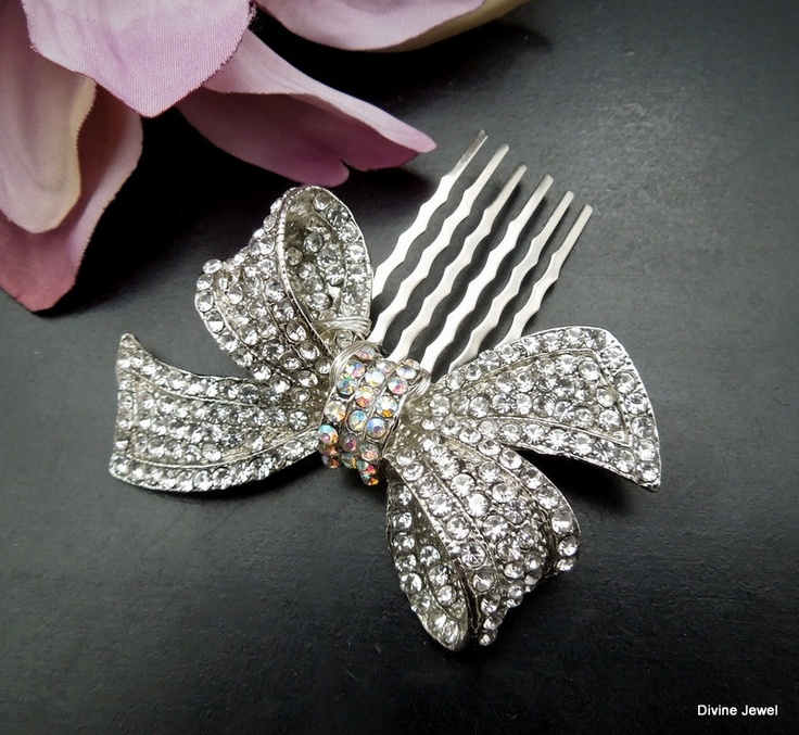 Rhinestones+Bow+BroochStatement+Hair+CombWeddding+by+DivineJewel,+$42.00