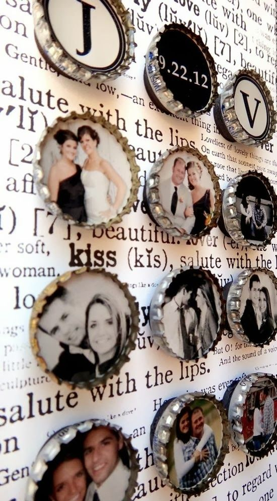 The Best DIY and Decor Place For You: How fun to create mini photo magnets out of bottle caps