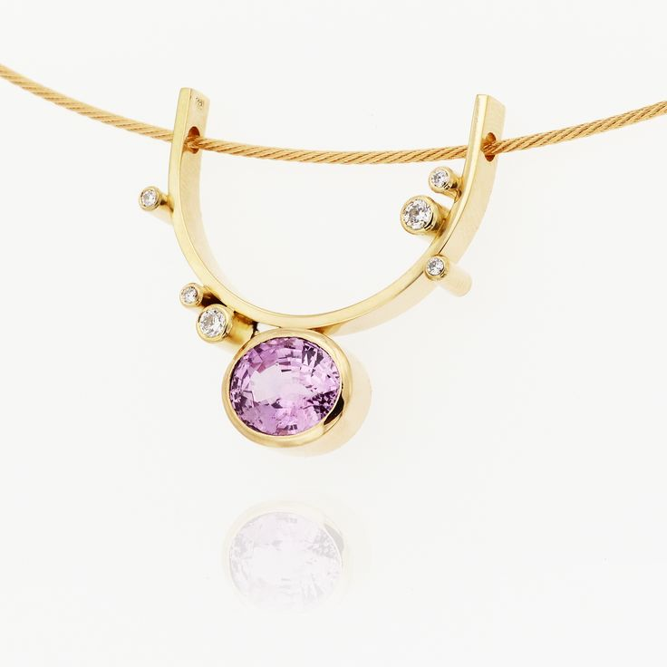 Yellow gold pendant, pink sapphire and diamonds. Contemporary dutch design. Handmade by Sabine Eekels