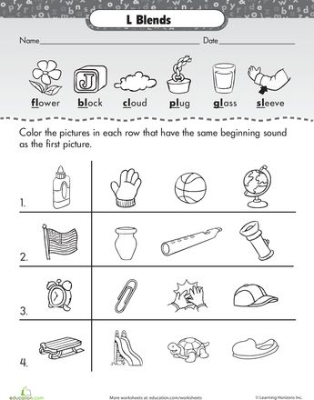 1000+ images about L blends on Pinterest | Worksheets, Phonemic ...