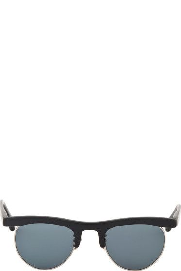 Thom Browne: Navy & Gold Sunglasses | SSENSE