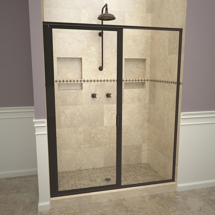 Redi Swing 1100 Series 46 In W X 68 5 8 In H Framed Swing Shower Door In Oil Rubbed Bronze With Pull Handle And Clear Glass Shower Doors Framed Shower Door Tile Redi