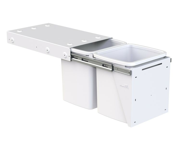 Hideaway Compact model: KC30SCD. 2 x 15L buckets, door pull. Fits a standard supermarket shopping bag. Install two units within the standard carcass height to provide a four-bin recycling solution.