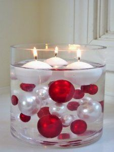 Amazon.com - Unique Elegant Vase Fillers - 95 Pieces Pack Jumbo Red Pearls and White Pearls with Sparkling & Red Diamonds and Gems Accents -...