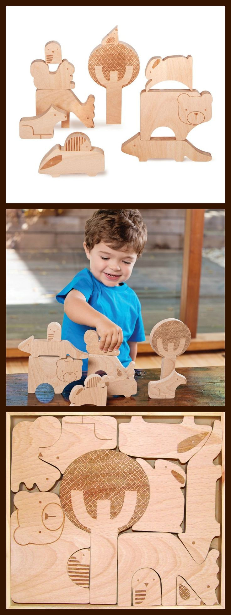 Forest Friends Wood Puzzle + Play // Petit Collage: http://www.petitcollage.com/forest-jumble-wood-puzzle-play