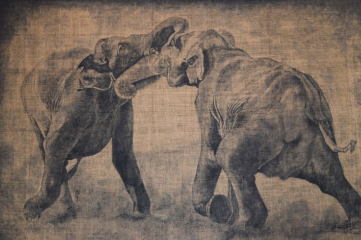 Mixed Media , Hiran Patikiriachchi Fighting Elephant, 2012, Mixed media on gunny material, 108 x 152.5 cm. Art Space Sri Lanka  wwwartspacesrilanka.com