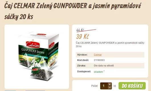 Čaj CELMAR Zelený GUNPOWDER a jasmín pyramidové sáčky 20 ks  >>> https://www.vito-grande.cz/p/caj-celmar-zeleny-gunpowder-a-jasmin-pyramidove-sacky-20-ks/