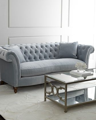 Windfield Sofa at Horchow. With sheltering arms, deep tufting, and softly hued upholstery, this sofa exudes comfort, making it the perfect spot for relaxing or conversing.