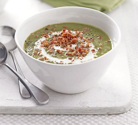 Creamy lentil & spinach soup with bacon   BBC Good Food.  I love making this soup, it's so tasty. I leave out the cream though.