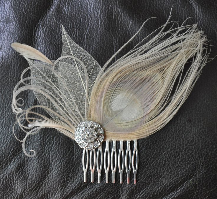 Hair Accessory,bridal comb, wedding comb ,bridal head piece,wedding hair piece,Ivory-champagne peacock Feathers.