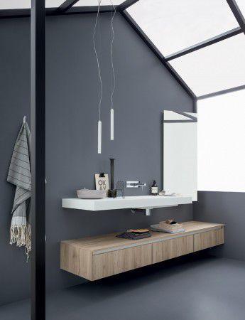 Wall-hung washbasin cabinet / melamine / contemporary / with mirror - 45: COMP. 1 - Birex