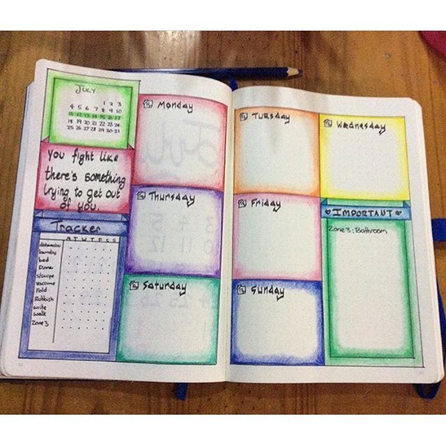 I love this colorful layout from @4lilmonkies ! Are you ready for this week in your bujo?  | bullet journaling | bullet journal | bujo | bullet journal junkie | bullet journal junkies | bujo junkie | bujo junkies | journaling | planning | planner | bullet journals |