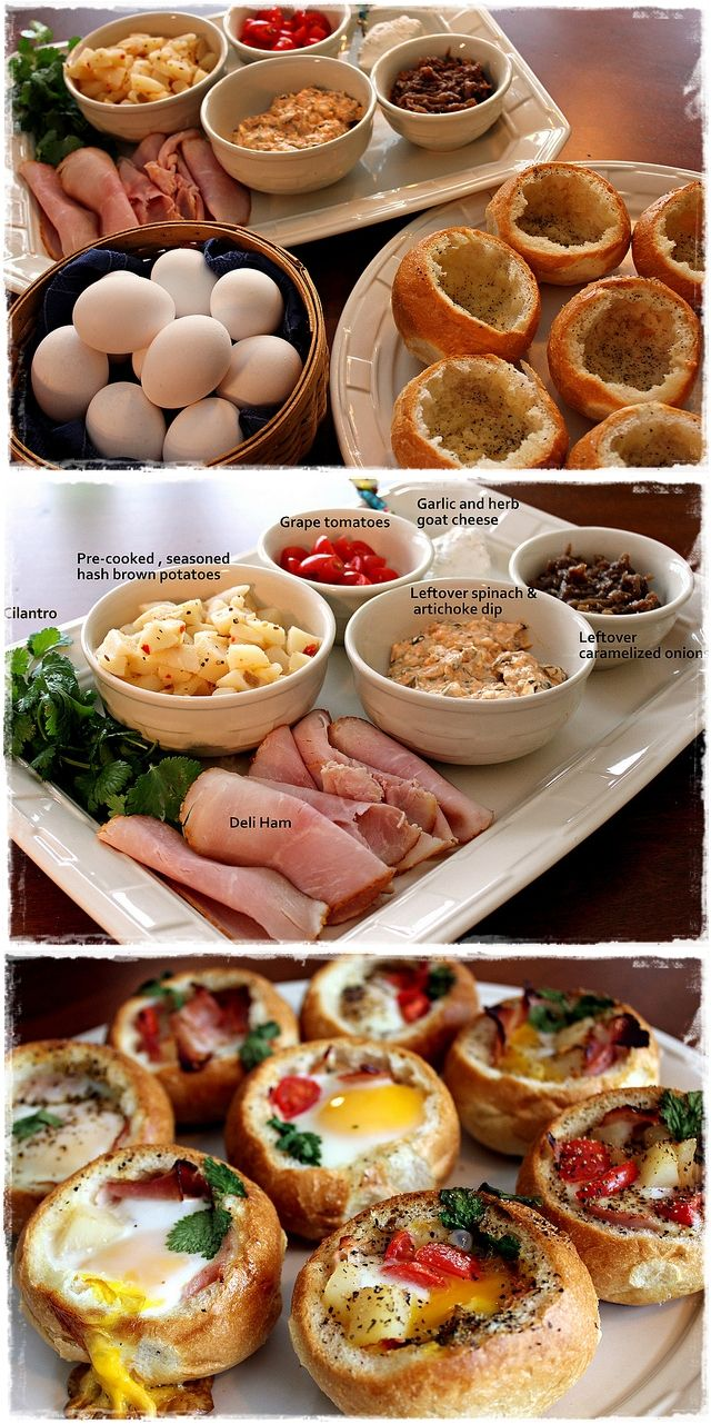 Adorbs!!! Bread Bowl Breakfast Buffet [ MyGourmetCafe.com ] #breakfast #recipes #gourmet