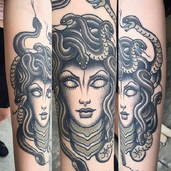 Snake Head Girl – Medusa. Its so much interesting that how many portraits can be done with a single girl. This 3D Medusa tattoo is worth the shot.
