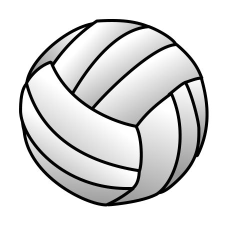 Small cartoon volleyball created with simple shadows.