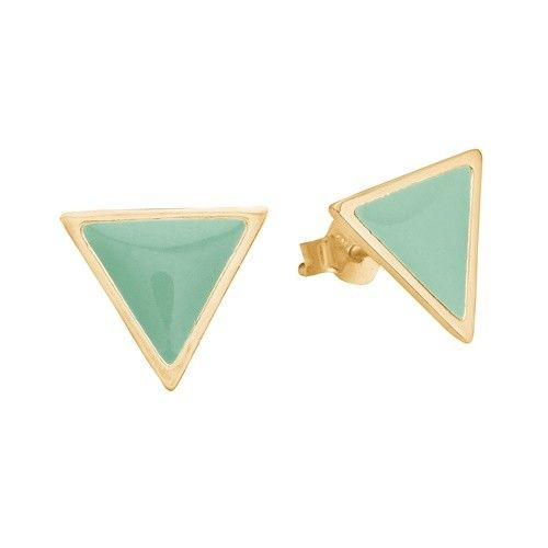 Stud, triangle, mint, gold plated sterling silver