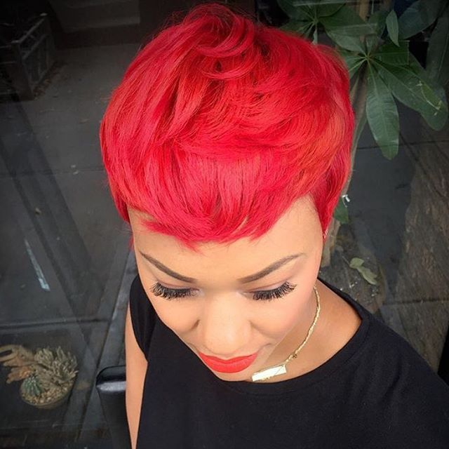 STYLIST FEATURE| Love this vibrant red color on this #pixie ✂️on @michi_marshall styled by #BrooklynStylist @artistry4GG Brilliant❤️ #voiceofhair