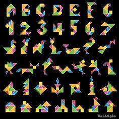 hacer juegos de tangrams con los restos de las cartelerías con colores bonitos