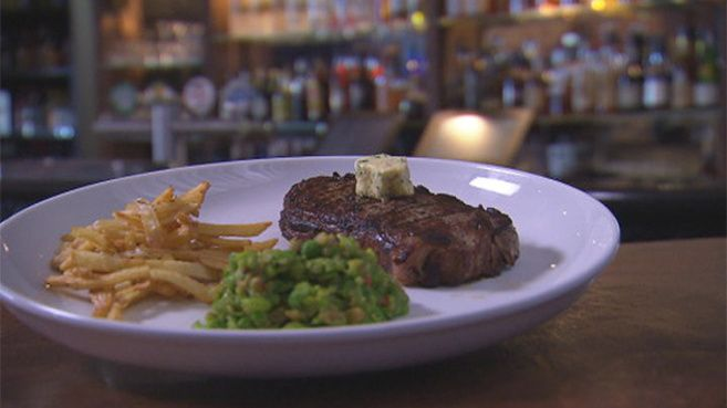 Pittsburgh Rare with French Fries, Mushy Peas and Café de Paris Butter