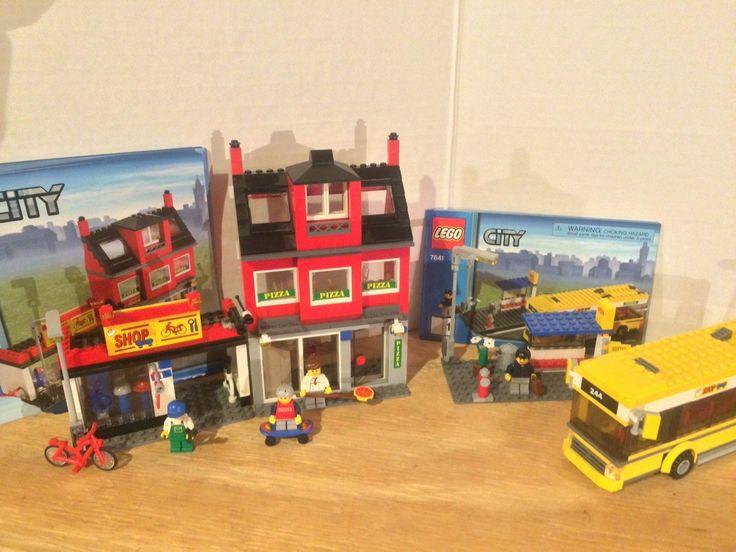Lego City Bike Shop Pizzeria Bus Stop Bus Retired 7641 Assembled w Instructions | eBay