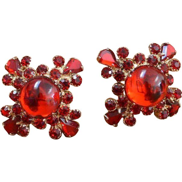 Red Rhinestone Cross Earrings --- The Ruby Red Tag Sale is on! 50% off for 96 hours from 8 am Friday, Nov 25th to 8 am Tuesday, Nov 29th. www.rubylane.com #RubyRedTagSale @Ruby Lane