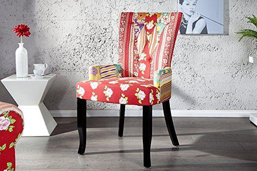 Design Patchwork Stuhl IBIZA mehrfarbig Textil mit Armlehne Polsterstuhl Sessel Wohnzimmer Baumwolle: Amazon.de: Küche & Haushalt
