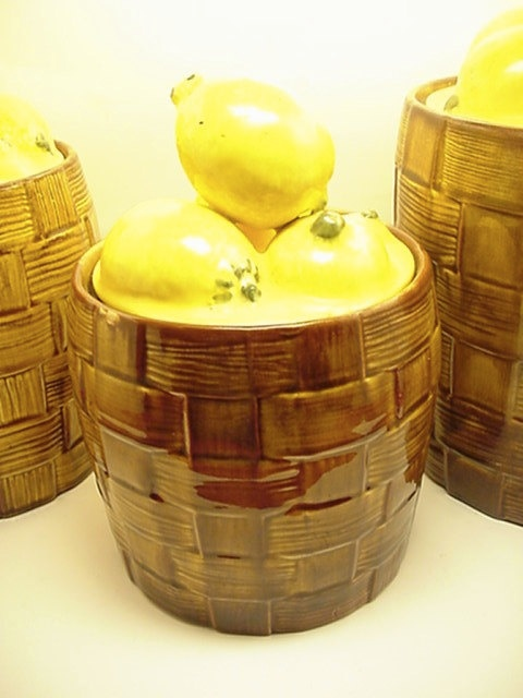 Gorgeous Lemon Kitchen Canisters Vintage Set by VintageRelief ... on stools for kitchen ideas, shelves for kitchen ideas, decorations for kitchen ideas, lights for kitchen ideas, wall art for kitchen ideas,
