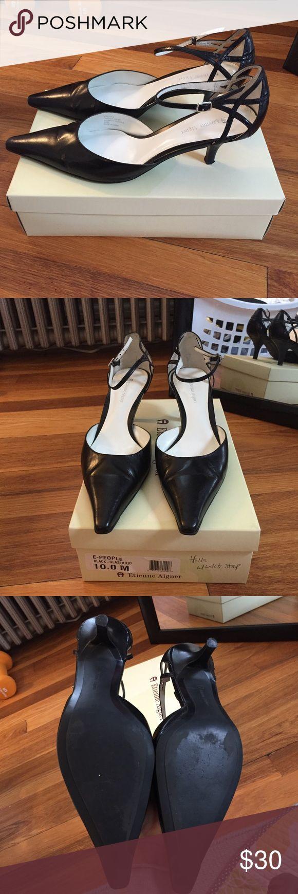 Etienne aigner black leather gloves - Euc Etienne Aigner Heels With Ankle Strap Etienne Aignerleather Upperblack