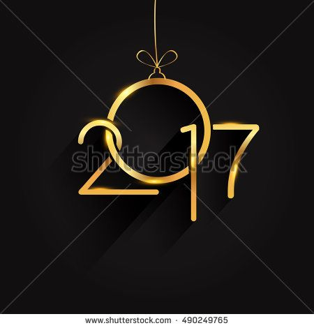 Vector 2017 Happy New Year background, text design golden colored, vector elements for calendar and greeting card.