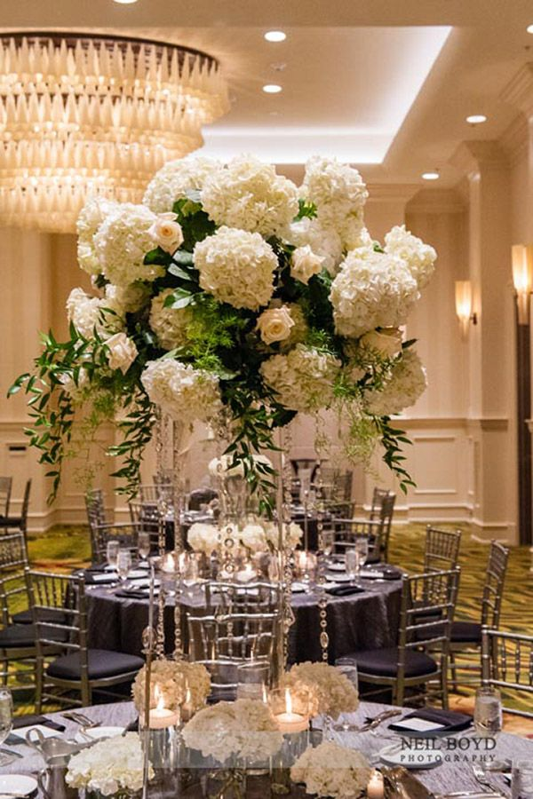 Tall White Floral Centerpieces Raleigh Nc Weddings