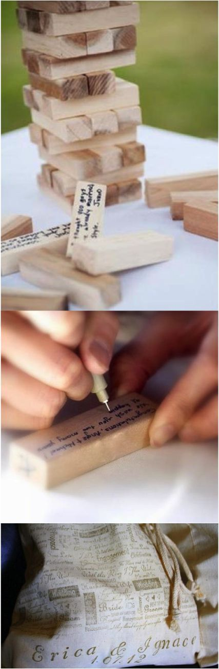 Here is a super clever alternative to the traditional Guest Book! Guests write their well wishes to the happy couple on these wooden blocks (similar to Jenga) then as the couple plays the game throughout the years they will be reminded of such a special time in their lives.   Made on Hatch.co