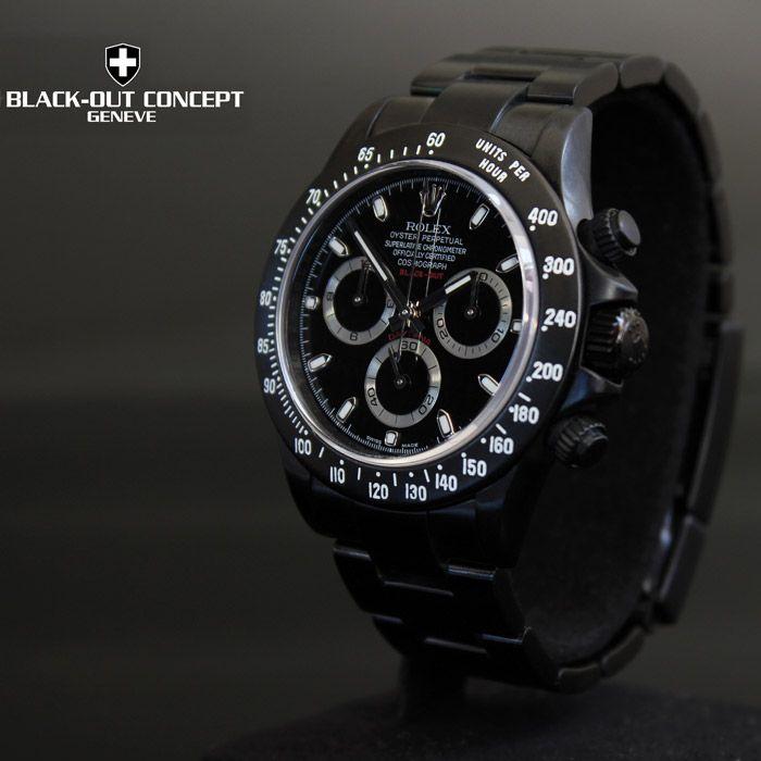 custom watches | Black Rolex Daytona DLC/PVD Watch Custom Dial