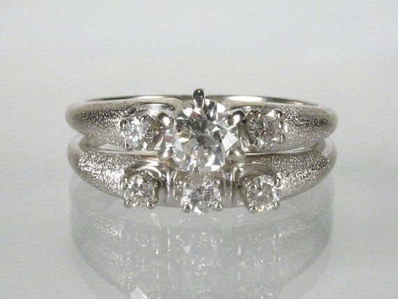 Vintage Wedding Rings Set  Vintage  050 Carat by lonestarestates, $750.00