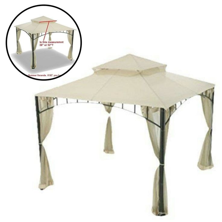 Gazebo Replacement Canopy Patio Outdoor Beige Cover Yard Sunshade Waterproof #Unbranded