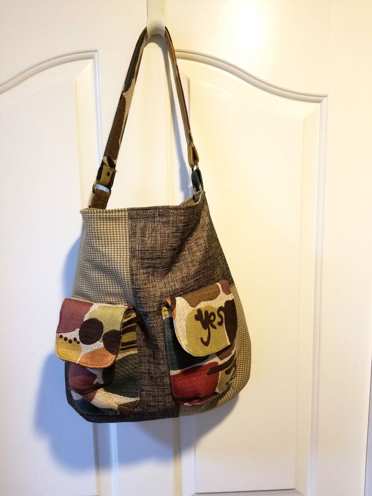 Shoulder bag, tote, purse, large, Gabrielle Bag. Large front flapped pockets by jewellgem on Etsy