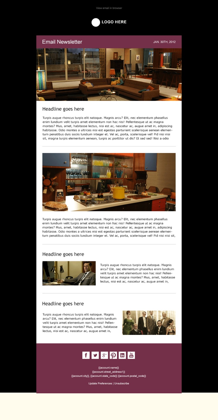 midnight modern simple email newsletter template available from beautiful. Black Bedroom Furniture Sets. Home Design Ideas