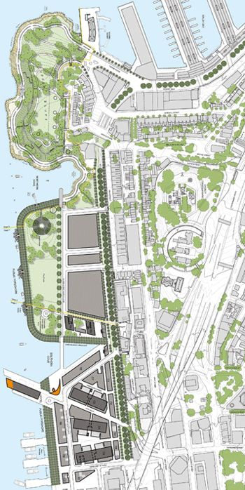 Sydney /  Barangaroo - Final Plan / From top: Headland Park, Barangaroo Central, and Barangaroo South  / After nearly ten years of planning and development, Barangaroo, a 22-hectare port on the Sydney waterfront, is coming together as a rich, $6 billion, mixed-use development that will fill in missing gaps in the city's waterfront promenade and offer a stunning, one-of-a-kind park with an embedded Aboriginal cultural center / PWP Landscape Architecture