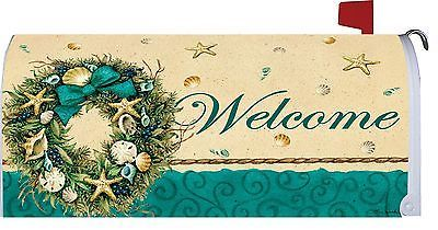 Welcome-Coastal-Seashell-Starfish-Wreath-Magnetic-Mailbox-Cover