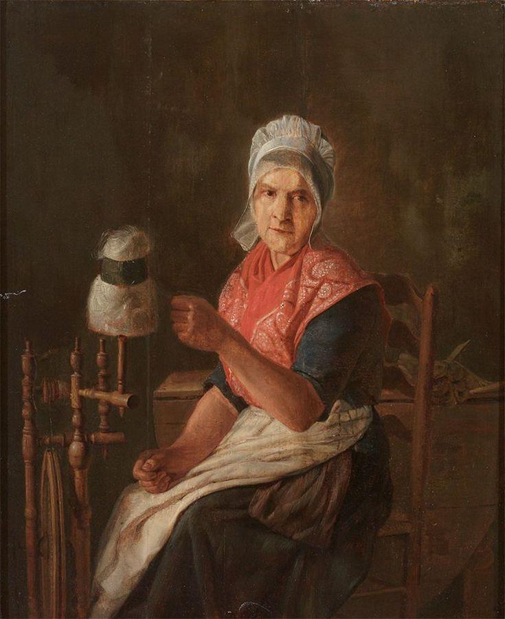Maler des 19. Jh. Paar Portraits eines Trachtenpaares; er beim Lesen der Zeitung, sie am Spinnrad