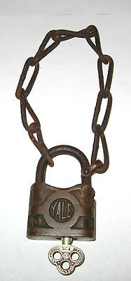 ANTIQUE YALE Y BRONZE PADLOCK ORIGINAL KEY AND CHAIN