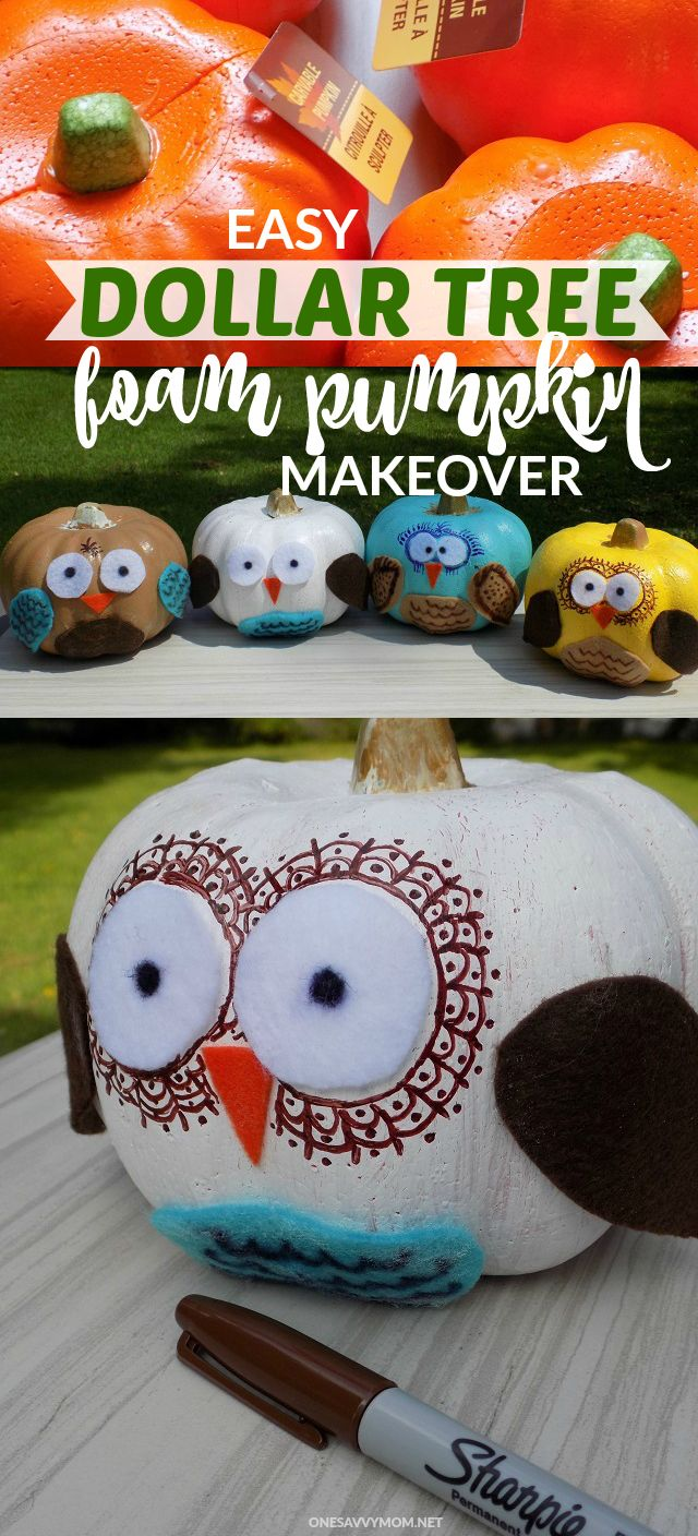 Easy Dollar Tree Foam Pumpkin Makeover - Super Cute owl Pumpkins Kids Craft Tutorial - Just $2 To Make!  Fun Kids Craft Perfect Craft For Fall Birthday Parties AND Halloween Parties!