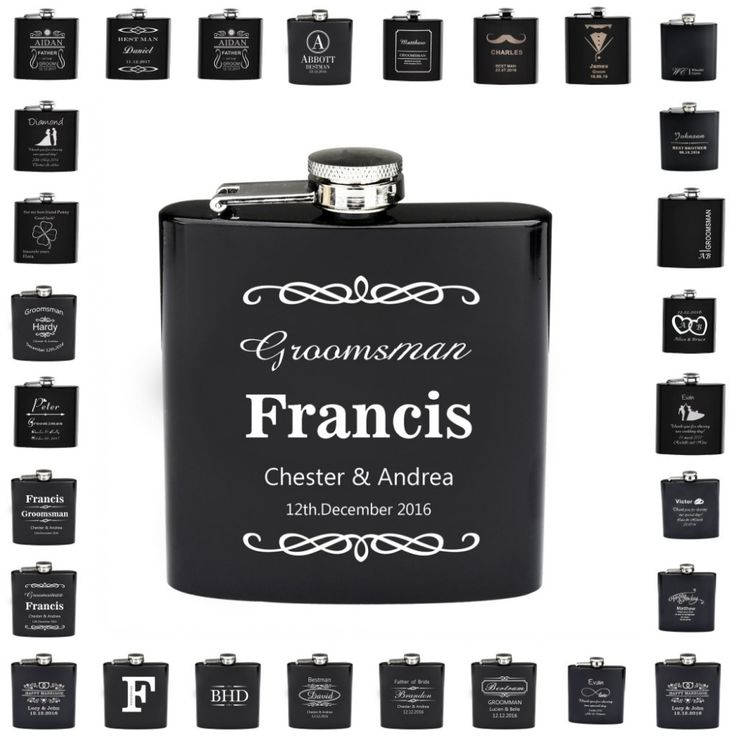 Personalized Engraved 6oz Hip Flask Stainless Steel Customize Party Wedding Mr Surname & Mrs Surname Present Gifts Usher Favors #Affiliate