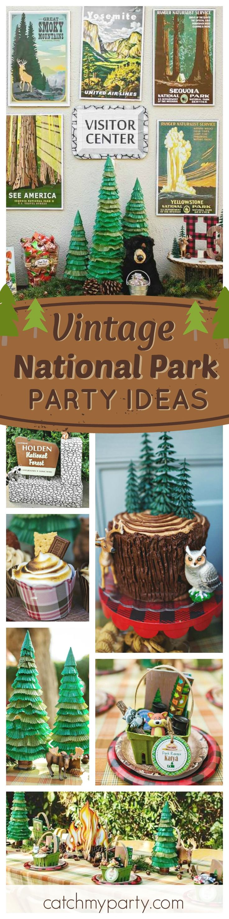 Check out this absolutely amazing Vintage National Park birthday party! The decorations are fantastic!! See more party ideas and share yours at CatchMyParty.com