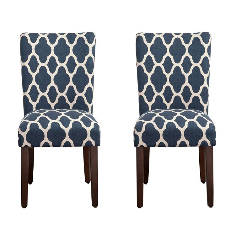 Amazon.com: Kinfine Parsons Upholstered Accent Dining Chair, Set of 2, Navy and Cream Geometric: Home & Kitchen
